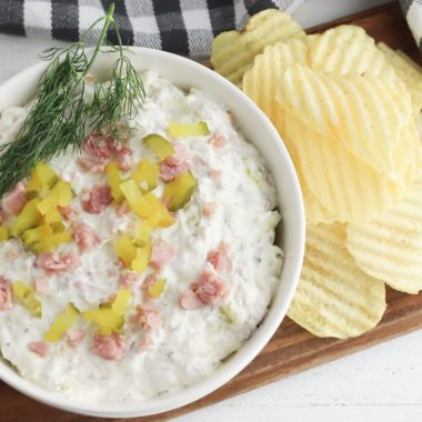 Dill Pickle Dip is a great appetizer for the holidays using leftover ham.