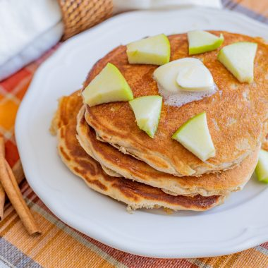 Easy Apple Cinnamon Pancakes are a great recipe with fall flavors.
