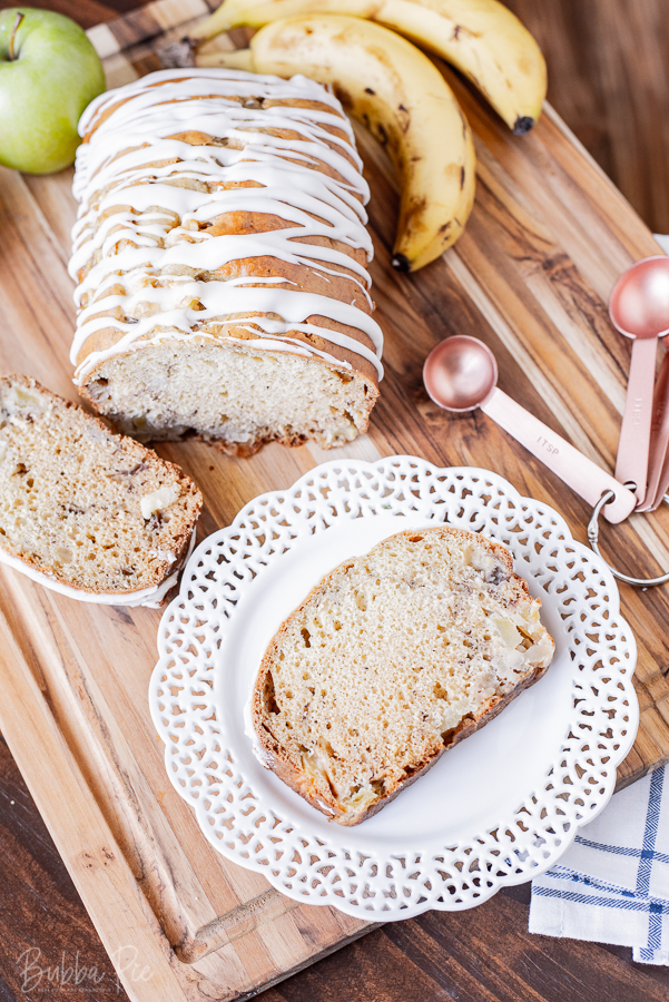 Homemade Apple Banana Bread with Vanilla Icing