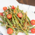 Oven Roasted Green Beans being served as a holiday side dish.