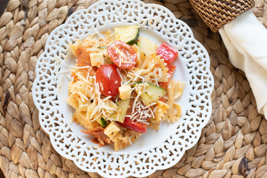 Pasta Salad Made with Salad Supreme Seasoning