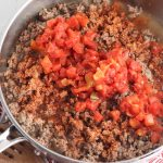 stir in taco seasoning, tomatoes and chilis
