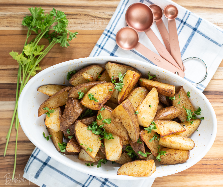 Cajun Roasted Potatoes being served for a side dish.