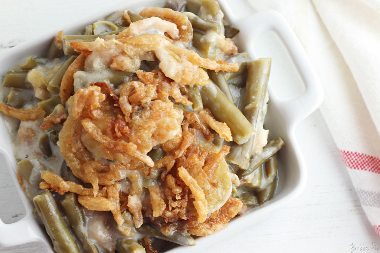 Easy Green Bean Casserole recipe in a bowl.