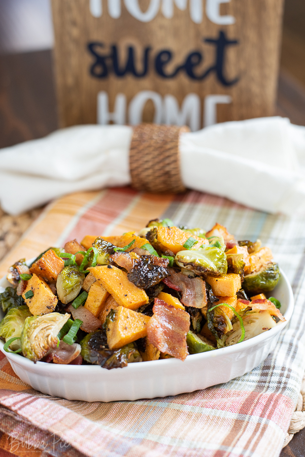 Roasted Brussels Sprouts with Sweet Potatoes Side Dish for thanksgiving.