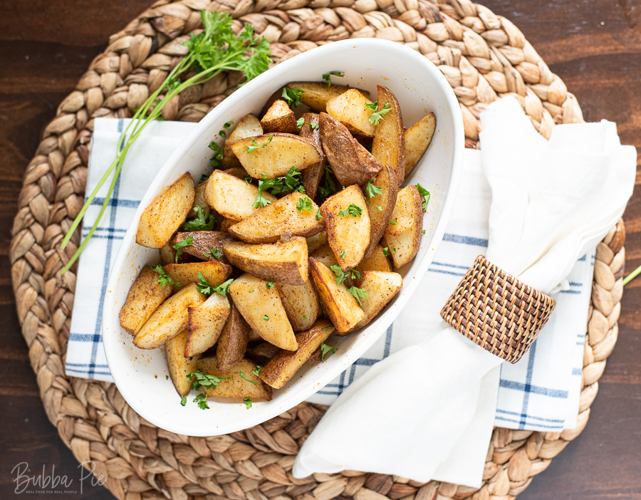 Spicy Roasted Potatoes with garlic, onion and salt seasoning.