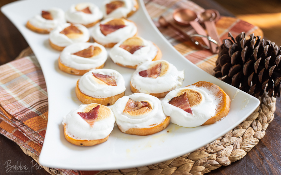 Thanksgiving Sweet Potato Appetizer topped with Marshmallows and Bacon.