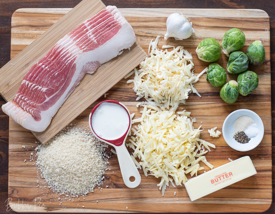 Cheesy Brussel Sprouts Casserole Ingredients include panko bread crumbs, bacon, butter and cheese.