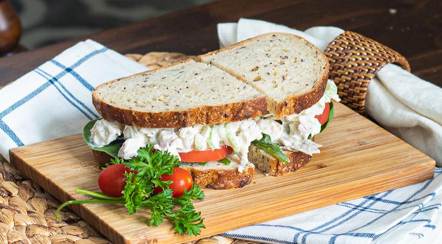 Turkey Salad Sandwich Recipe being served for lunch.
