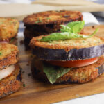 Eggplant Napoleon is a vegetarian side dish or appetizer.