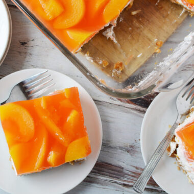 Peach Pretzel Salad Recipe is a great dessert for any occasion.