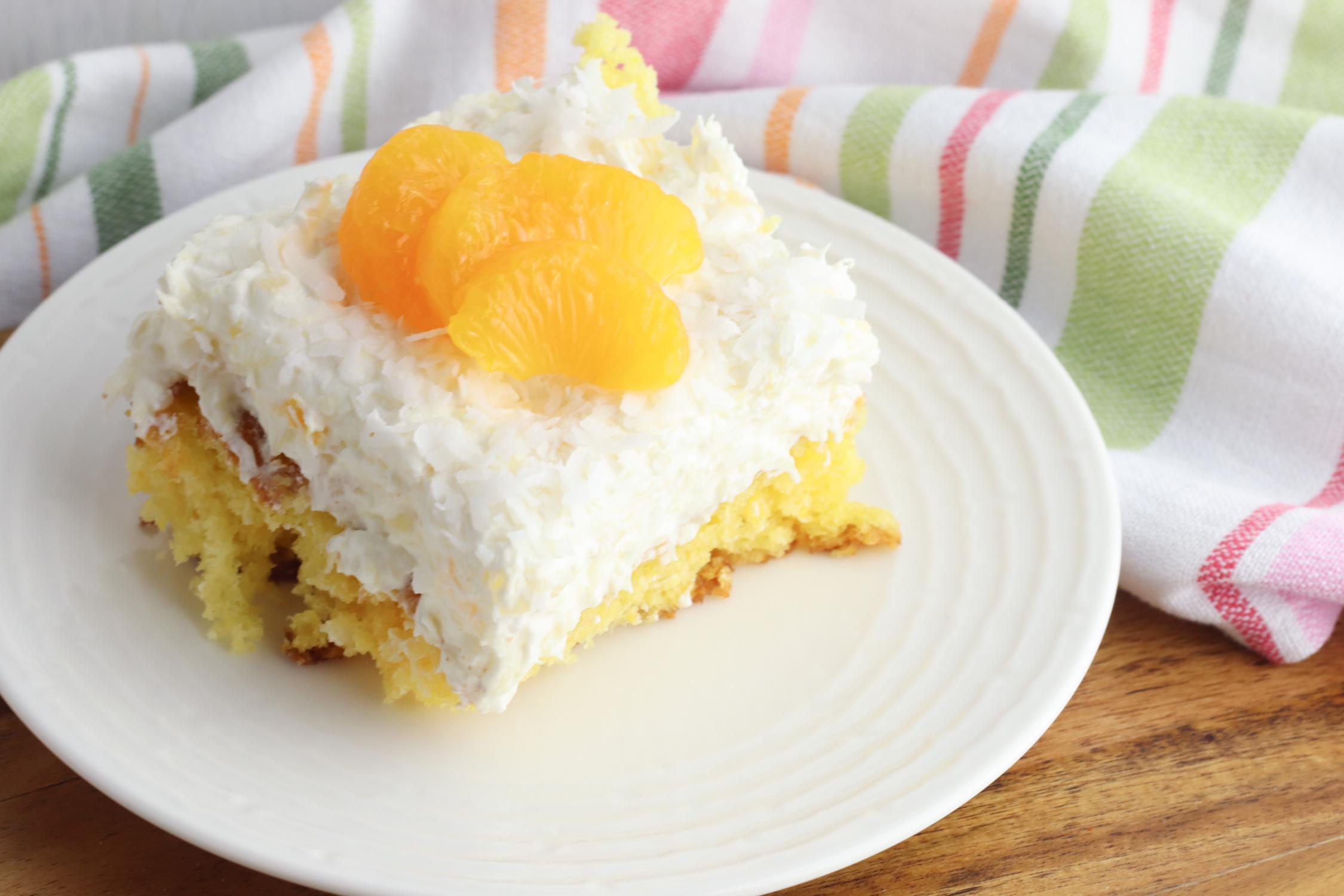 Orange Pineapple Cake being served for dessert.