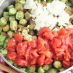Smothered Okra Ingredients include tomatoes, garlic and onions.
