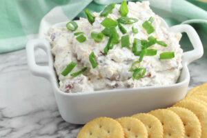 Chipped Beef Dip Recipe being served with crackers