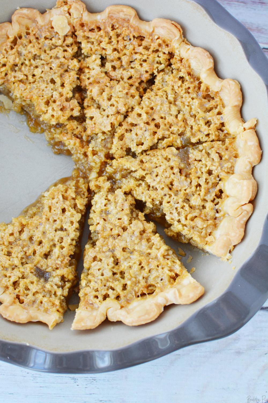 Oatmeal Pie Recipe in a pie plate.