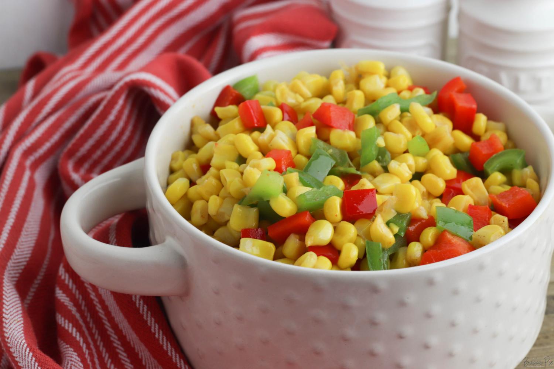 Fiesta Corn Recipe in a white bowl.