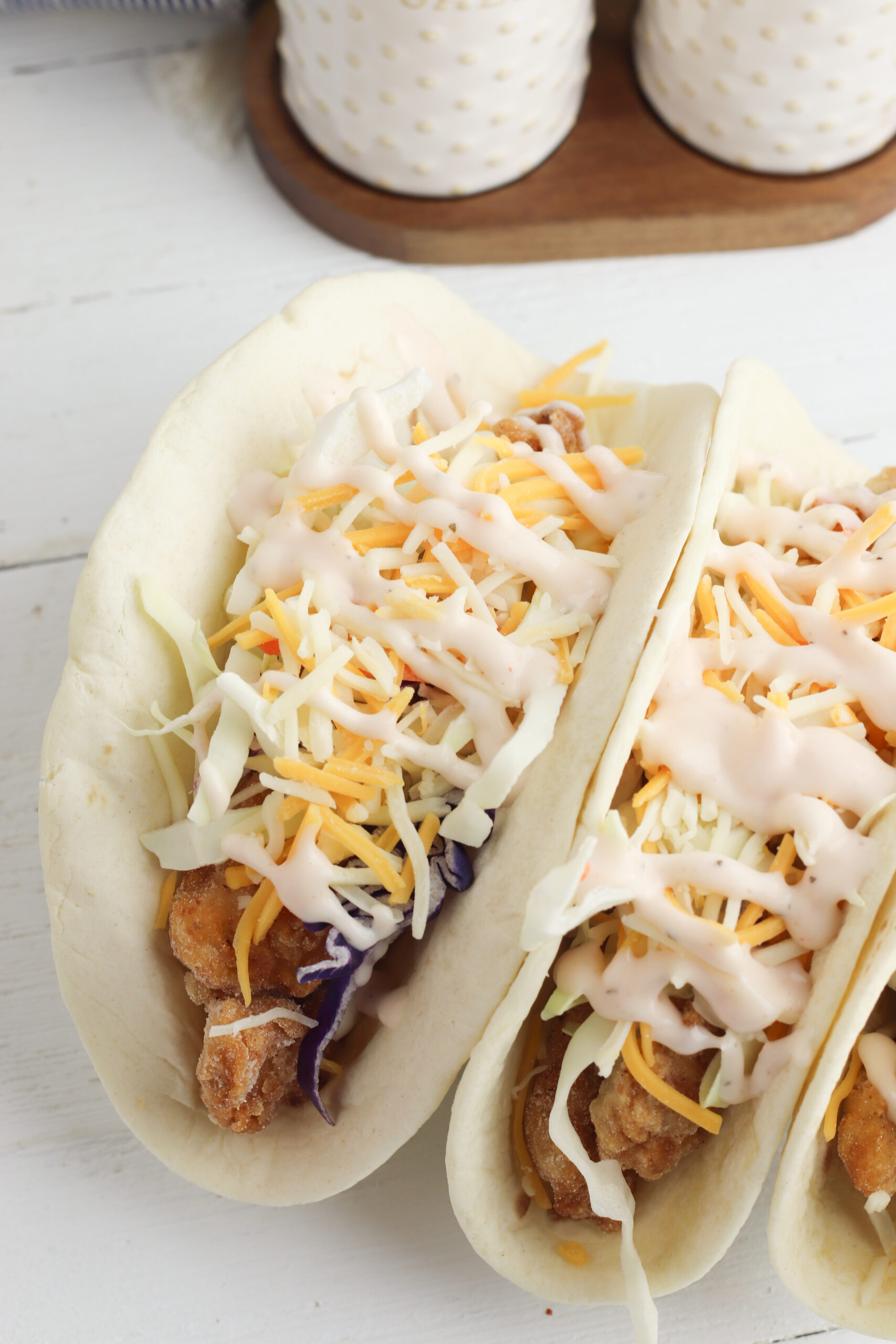 Southern Fried Chicken Tacos being served for dinner.