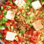 add taco seasoning to skillet to make fiesta corn