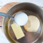 Making Maple glaze in sauce pan