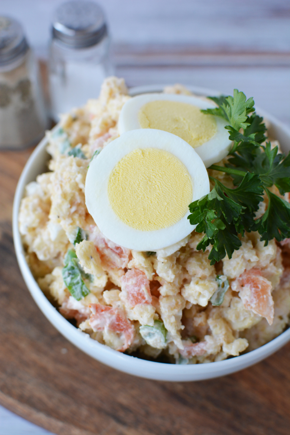 Tomato Cracker Salad topped with egg
