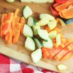 Cut vegetables for grilled vegetable salad