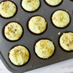 Baked pistachio muffins in oven