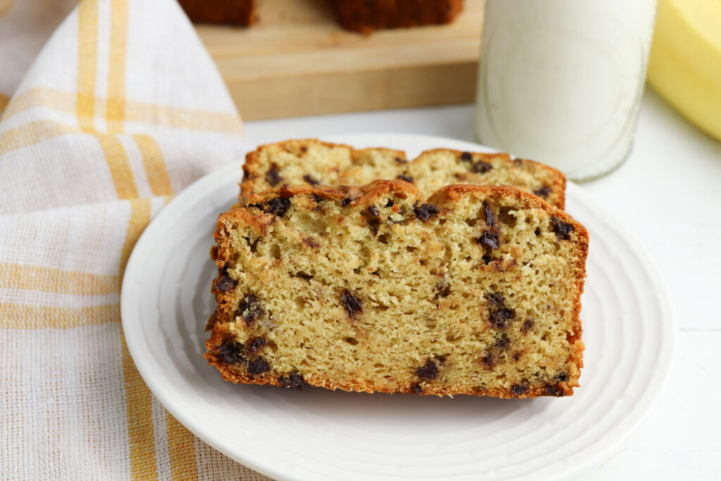 Cake Mix Banana Bread on a white plate.