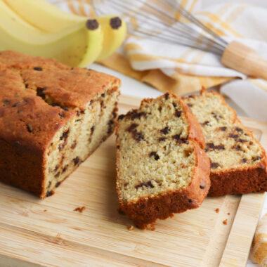 Cake Mix Banana Bread Recipe on a wooden cutting board